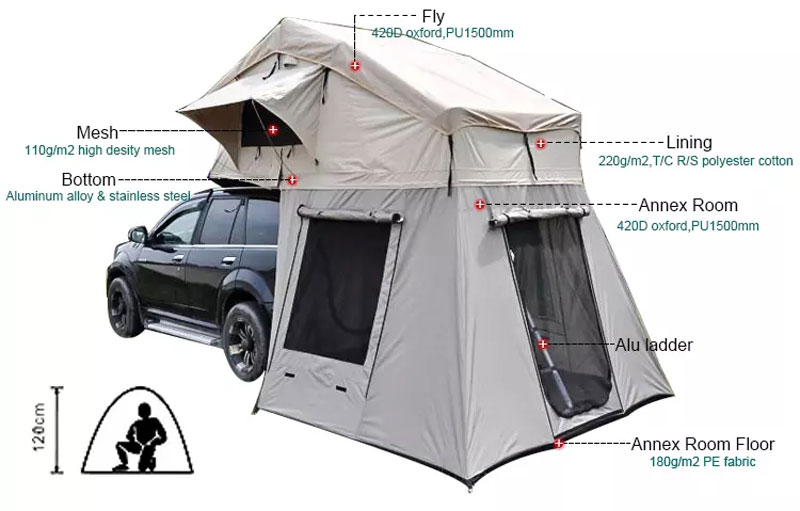 Glamping Soft Canvas Car Roof top Tent With Side Awning