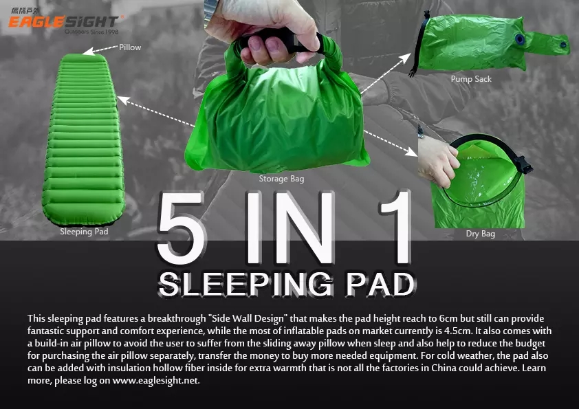 5 In 1 Air Inflating Sleeping Pad For Camping