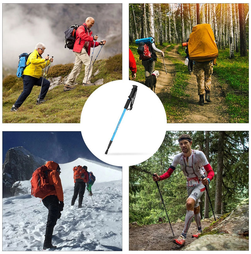 6061 Aluminum Adjustable Lightweight 4 Sections Trekking Poles
