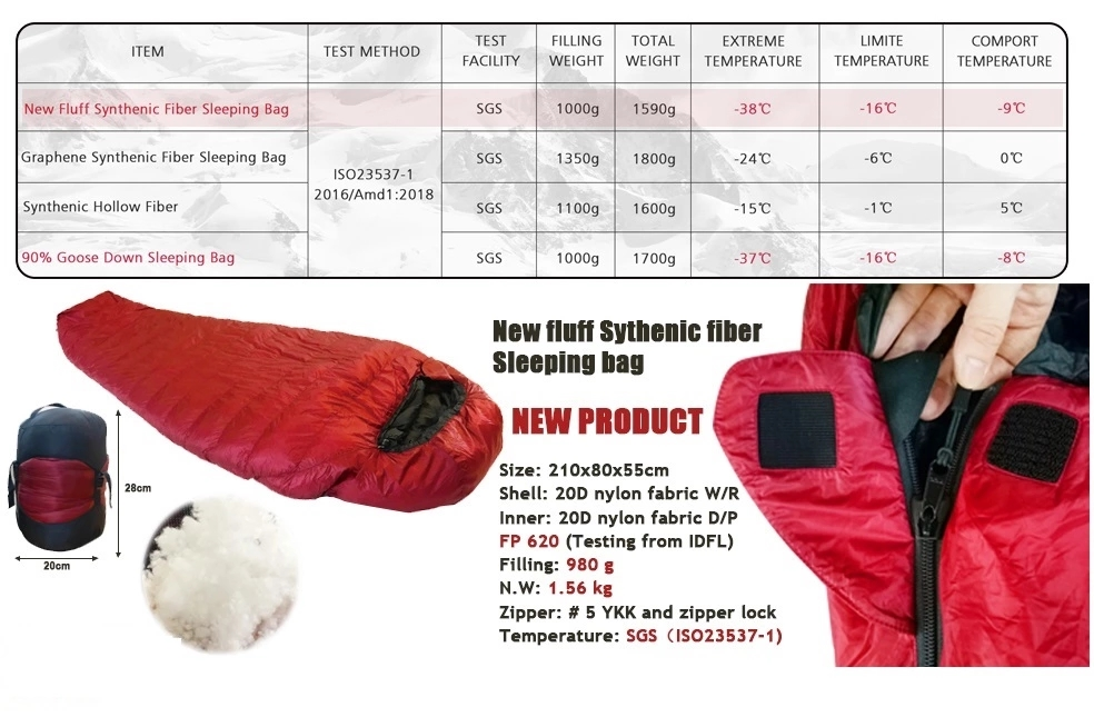 Environmental protection Waterproof Camping New fluff synthetic fiber sleeping bag
