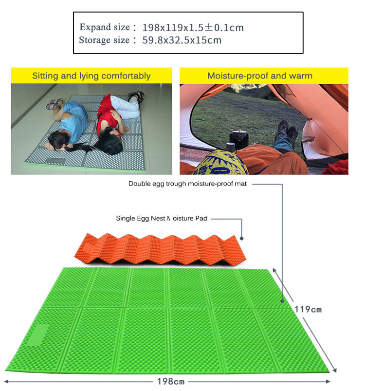 Double Size XPE Foam Folding Sleeping Camping Mat For 2 Person