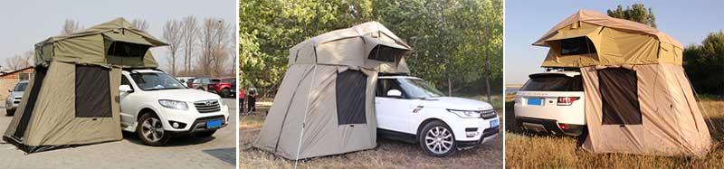 Glamping Soft Canvas Jeep Roof Rack Tent With Side Awning