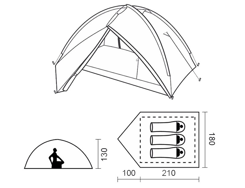3 Person Summer Beach Instant Play Tent Breathable Tent