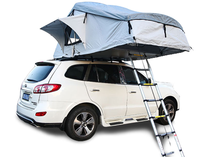 2 Layers Canvas Soft Shell Roof Top Tent Foldable SUV Aluminum Frame Roof Top Tent