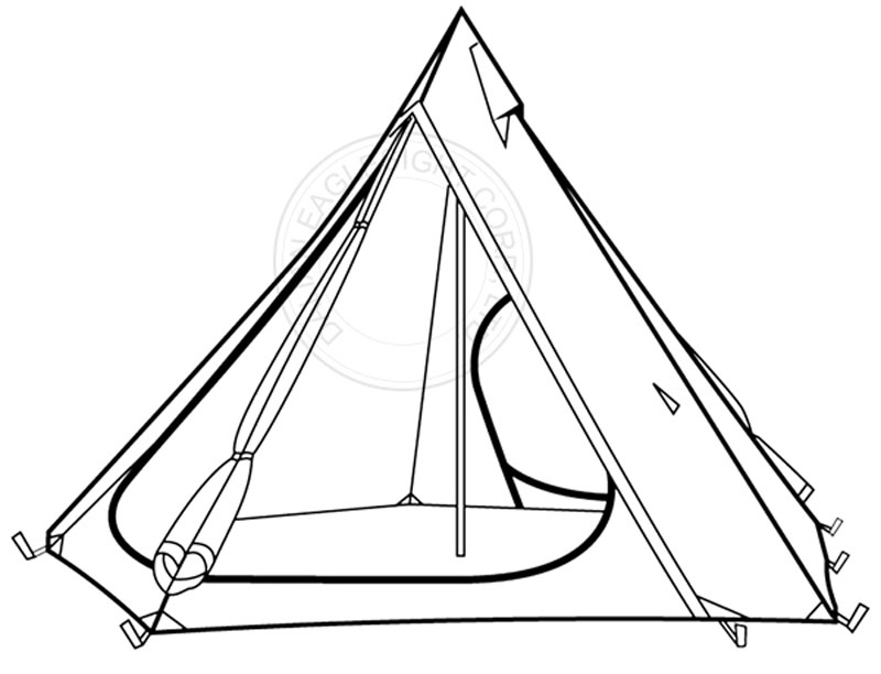 6 Person 68D Waterproof Windproof Ripstop Camping Tipi Tent