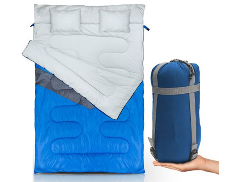 3 Season 2 Person Outdoor Double Sleeping Bag With Attached Pillows