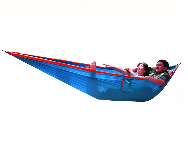 Parachute Nylon Double Hammock With Tree Straps SGS Certified 600 lbs Hammock