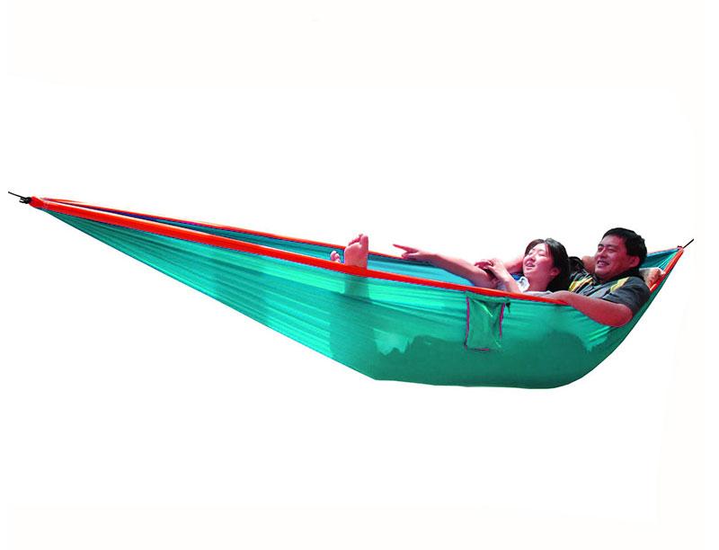 Parachute Nylon Double Hammock With Tree Straps SGS Certified 600 lbs Hammock