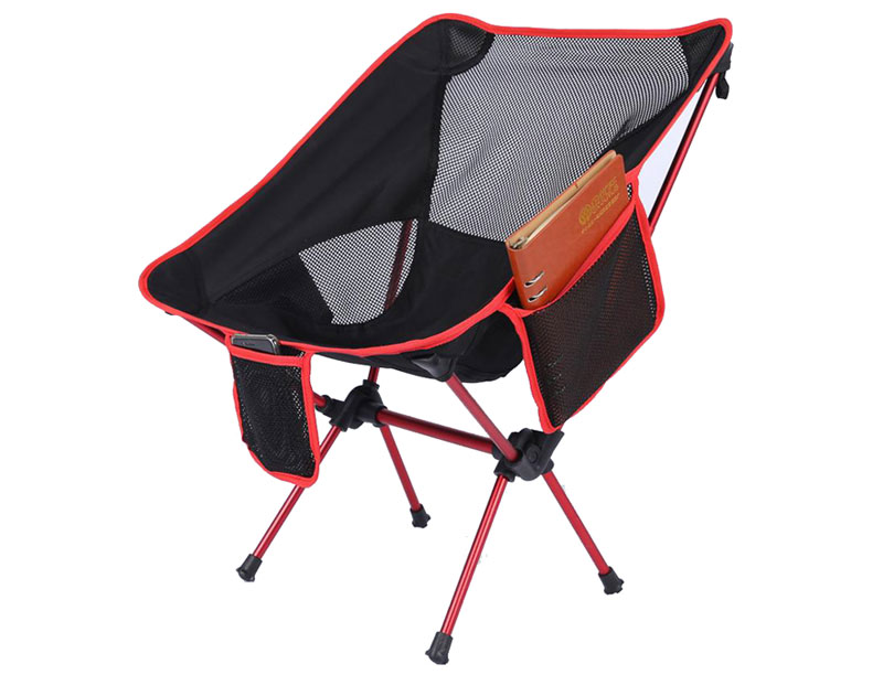 Light Weight Aluminum Frame Foldable Camping Moon Chair with Cup Holder and Storage Bag
