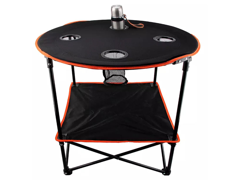 Light Weight Portable Round Foldable Canvas Top Camping Table With 4 Cup Holders
