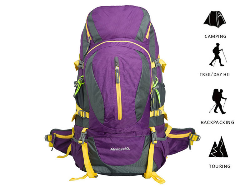 Outdoor Hiking Travel 50 L Heavy Duty Waterproof Backpack with Internal Frame