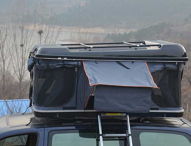 2 Person Camping Hard Shell Car Roof Top Tent With Rack and Net Yarn