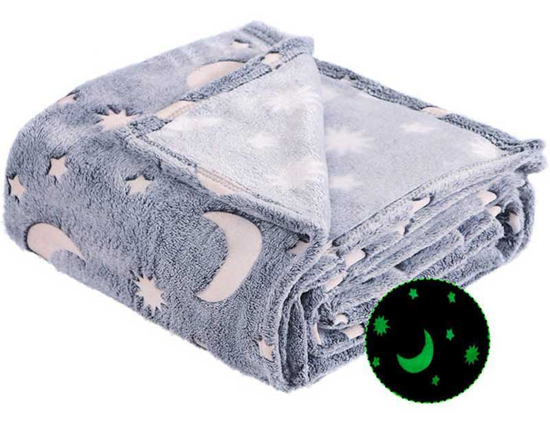 Forestar Glow in Dark Fluffy Plush Furry Throw Blanket Soft Thermal Blanket