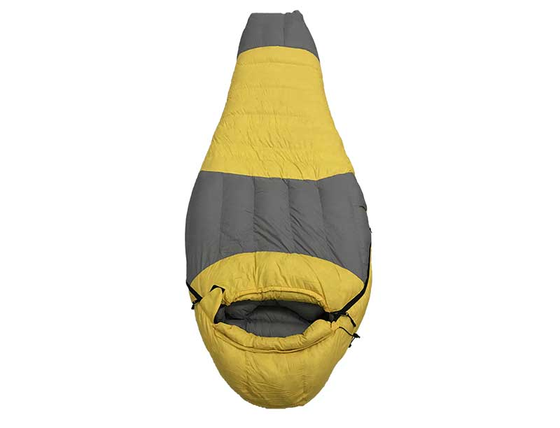 0 ℃ Light Yellow Recycled Fabric Sleeping Bag Goose Down Sleeping Bag