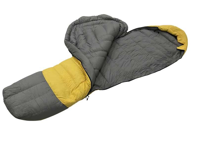 0 ℃ Light Yellow Recycled Fabric Sleeping Bag Goose Down Sleeping Bag